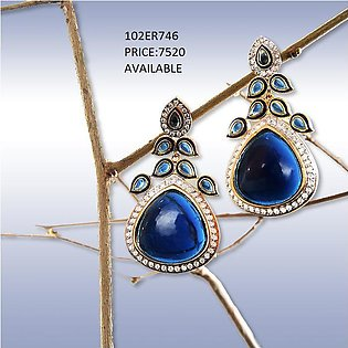 Elegant Blue Stone Earrings By Rijas Infinity (102ER746)