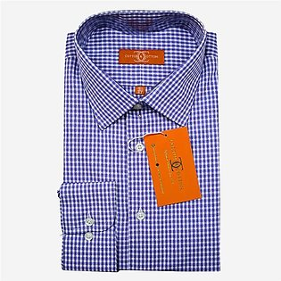 Cotton and Cotton Formal Shirt For Men in Blue Checks