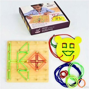 Wooden Bands and Lacing Educational Montessori Activity Geo Board