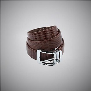 Dark Brown Checks Leather Belt
