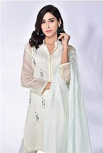 3-Piece | Khaddi Net Handworked suit