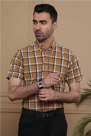 SEMI FORMAL HALF SLEEVE  SLIM FIT KHAKI BLACK CHECK