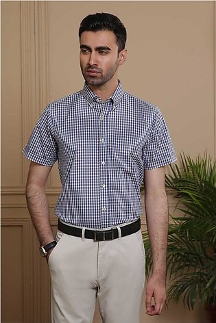 SEMI FORMAL HALF SLEEVE SLIM FIT BLUE GREY