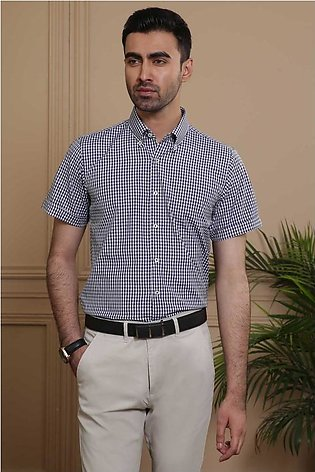 SEMI FORMAL HALF SLEEVE  SLIM FIT NAVY WHITE