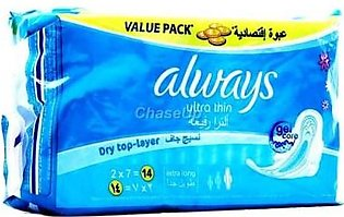 Always Ultra Thin Sanitary Pads Extra Long 2x7 14pcs