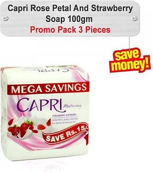 Capri Rose Petal And Strawberry Soap 100gm 3pcs