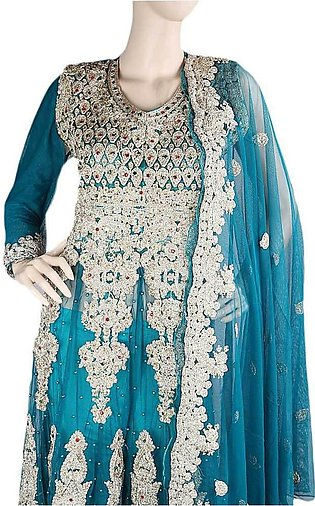Anarkali Embroidered Net Frock Semi-Stitched Suit - Steel Green