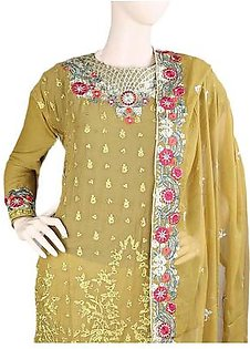 Bridal Dress Chiffon Embroidered Semi-Stitched Suit - Mustard
