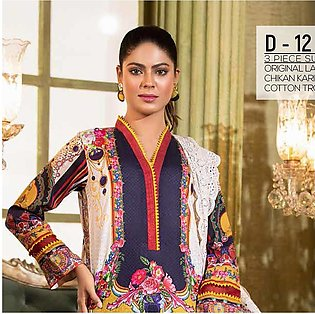 Noor Jahan Lawn Printed & Embroidered 3 Pcs Un-Stitched Suit - 12