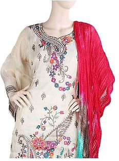 Bridal Dress Maysoori Embroidered Semi-Stitched Suit - Beige