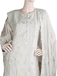 Bridal Dress Shamoz Silk Embroidered Semi-Stitched Suit - Beige