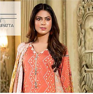 Noor Jahan Lawn Printed & Embroidered 3 Pcs Un-Stitched Suit - 4