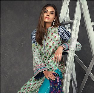 Orient Ethnic Stamp Printed Lawn Suit-B063