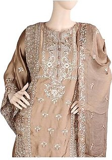 Bridal Dress Shamoz Silk Embroidered Semi-Stitched Suit - Copper