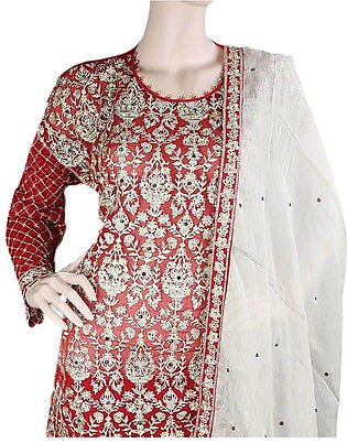 Bridal Dress Chiffon Embroidered Semi-Stitched Suit - Red