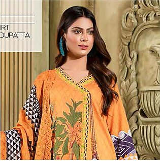 Noor Jahan Lawn Printed & Embroidered 3 Pcs Un-Stitched Suit - 1