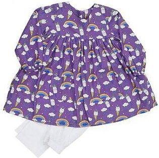 KDS-G-3421(PK-831) PAREESA GIRL 2PCS  L/PURPLE