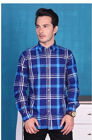 SHIRT CASUAL GTS-3660 BLUE CHECK
