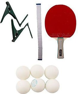 Pack of 9 - Table Tennis Set (High Quality Racket + 6 Table Tennis Balls + Table Tennis Post + Net)