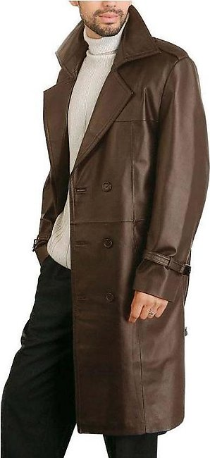 Brown  Faux Leather Long Coat For Men