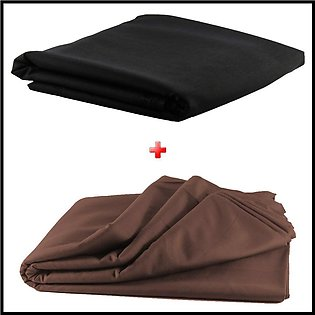 Pack of 2 Unstiched Wash & Wear Kurta - Black + Brown