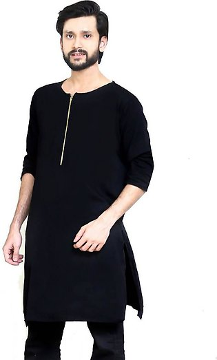 Black Kurta Boski Linen soft and comfortable for Summers- Large