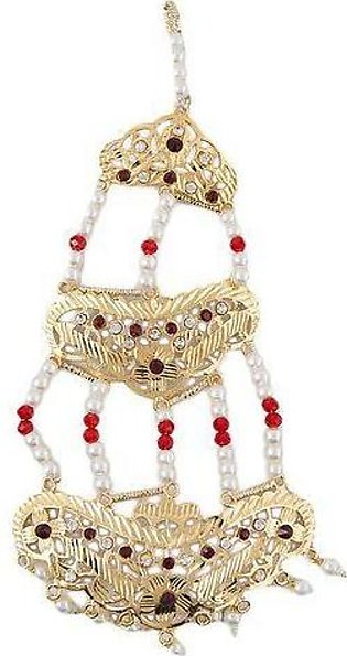 Zarqoon Red and White Pearls Matha Patti - Golden