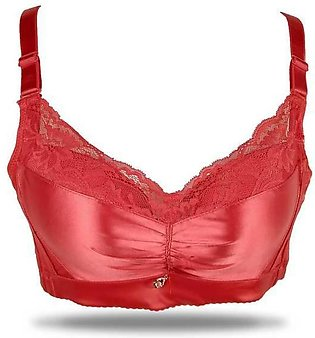 Fancy Red Lace Padded Wireless Bra For Bridal