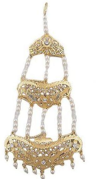 Zarqoon White Pearls Matha Patti - Golden