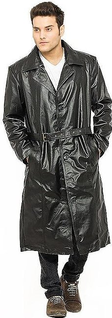 Black Faux Leather Highstreet Long Coat for Men