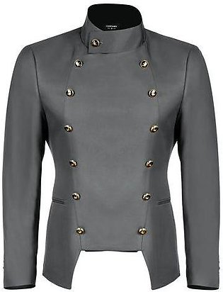 Gray Men Fashion Casual Stand Neck Double-breasted Slim Fit Blazer Jacket