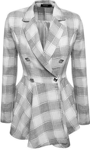 Black Women Plaid Double-Breasted Flouncing Coat Casual Outerwear