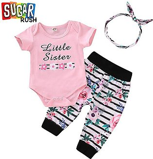 Pink Printed Rompers with Pants with Headband
