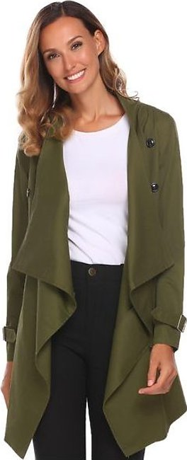 Army Green Women Fashion Long Sleeve Solid Coat Trench Jacket
