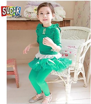 Green SUGAR RUSH Girls Green Leggings Attached Skirts