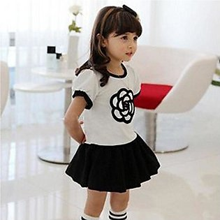 White New Fashion Kids Girl\'s O-neck Short Sleeve Embroidery Layered Patchwork…
