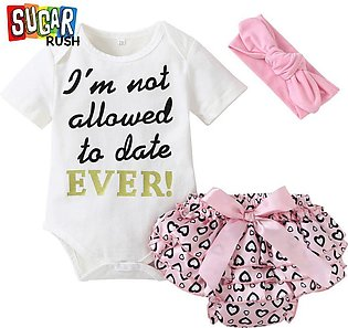 Pink SUGAR RUSH Infant Girls Printed Rompers with Bloomers with Headband