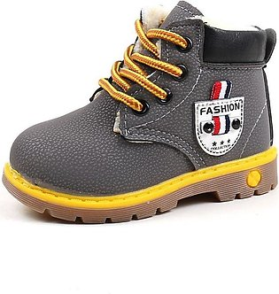 Gray Boy Fashion Casual Non-slip Thicken Martin Boots Waterproof Toddler Shoes