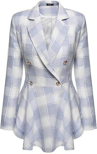 Blue Women Plaid Double-Breasted Flouncing Coat Casual Outerwear