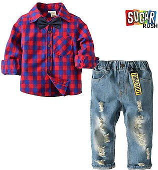 Purple SUGAR_RUSH Baby Boy and Boys Stylish Red Check Shirt and Ripped Jeans Set