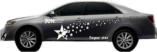 White Car Stars Pattern Decal Waterproof Car Body Protection Decoration Stickers