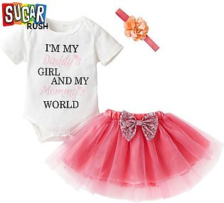 Pink SUGAR RUSH Infant Girls Printed Rompers with Skirts with Headband