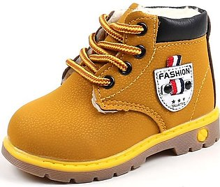 Yellow Boy Fashion Casual Non-slip Thicken Martin Boots Waterproof Toddler Shoes