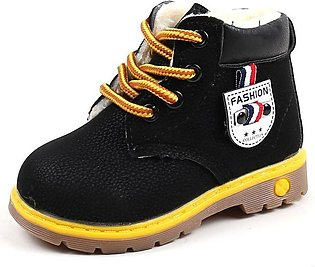 Black Boy Fashion Casual Non-slip Thicken Martin Boots Waterproof Toddler Shoes