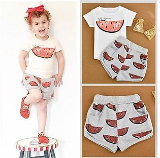 Fashion Children Girl Watermelon Pattern Short Sleeve T-shirt Shorts Two Pieces…