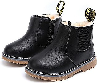 Black Boys Fashion Casual Non-slip Thicken Martin Boots Waterproof Toddler Shoes