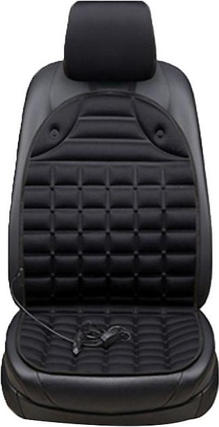 Black 12V Car Heating Cushion Electric Heating Front Seat Cushion Cover Backrest