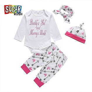 Pink SUGAR RUSH Infant Girls Printed Rompers with Bottoms with Headband with Cap
