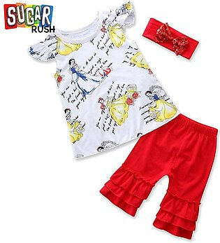 Red Sugar Rush Girls White Floral Top with Red Bottom and Headband