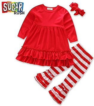 Red Sugar Rush Girls Red Flare Top with Striped Bottom and Headband